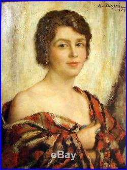 Superbe HST XX Portrait signée Henri Dezire daté 1929 cadre en bois sculpté