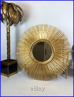 Superbe Miroir Soleil En Bois Doré De 125 CM De Diamètre Des Années 70