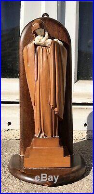 Superbe Vierge à l'Enfant Art Déco par Heuvelmans bois sculpté