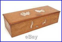 Superbe boîte coffret acajou galuchat chiens chiots 1930-40 Art Déco XXème