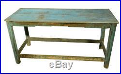 Table Banc Bleu Art Deco Bois Vieux Teck 114x45x57cm