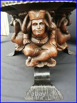 Table Basse Art Déco Jean Maurice Rothschild/fer martelé/marbre/bois sculpté