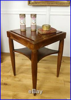 Table / Guéridon Carré Art Deco Des Années 30 En Bois D'acajou Blond Et Placage