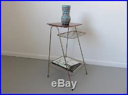 Table Selette Bout De Canape Porte Revue Bois Et Metal Dore Annees 50 60 Vintage