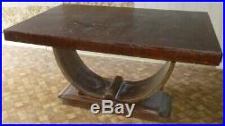 Table art déco Bois et plaquage piétement berceau