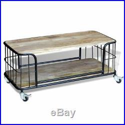 Table basse 100x50x35 cm Bois de manguier massif Table d'appoint Avec 4 roues