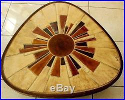 Table basse de salon en bois + céramique Vallauris signée BARROIS Vintage 60/70