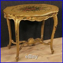 Table basse meuble salon style ancien bois laqué peint fleurs 900