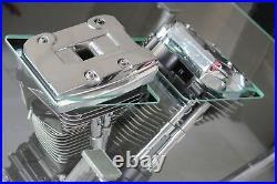 Table basse verre moteur Harley Davidson lumineuse