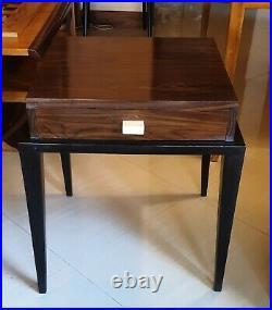 Table de chevet Art Deco en bois massifs rares (Pallisandre, Manguier, Teck)