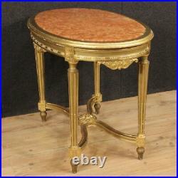 Table de salon meuble petite table bois d'or style ancien Luigi XVI marbre 900