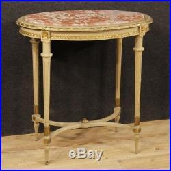 Table italienne salon meuble laqué doré bois style ancien Louis XVI