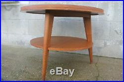 Table ronde tripode pieds compas bois de chene 1950 design table basse