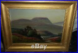 Tableau huile sur bois montagne Basque bruyère en fleur signé Bertrand
