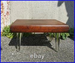 Tabouret ancien design en bois verre moderniste art déco brutaliste marche pied