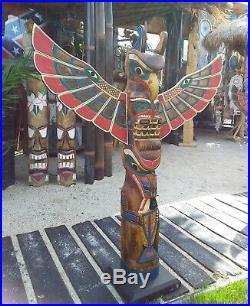 Totem des Indiens, Totem bois Little Big Horn Amérique grandes tailles 1,00 M