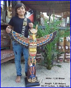 Totem des Indiens, Totem bois Little Big Horn Amérique grandes tailles 1,02 M