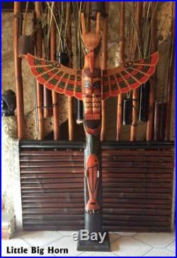 Totem des Indiens, Totem bois Little Big Horn Amérique grandes tailles 2,00 M