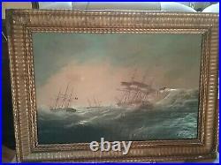 Très beau tableau 19 eme bateau sur la mer Petits defauts 2 eclats de peinture