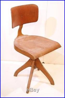 Très rare vieux bois chaise de bureau, Chaise loft architektenstuhl avec plumes