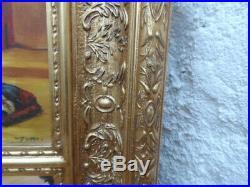 Trumeau glace peinture orient excellent état xixe art deco dore feuille