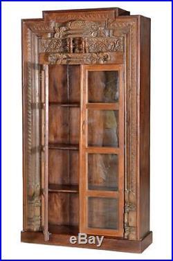 Ultra-haute Armoire avec Vitrine Art Déco Style Inde bois sculpté