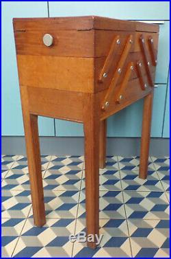 VINTAGE GRANDE TRAVAILLEUSE bois Boîte à ouvrage couture DESIGN 1920-50-ART DéCO