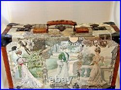 Valise ancienne en bois et cuir 1900 avec collages mode des Demoiselles