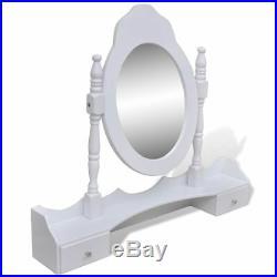 VidaXL Coiffeuse Blanc 7 Tiroirs 1 Miroir et 1 Tabouret Table de Maquillage