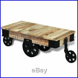 VidaXL Table basse avec roues de salon Bois de manguier brut Meuble de rangement