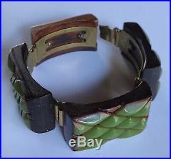 Vintage Stratifié Vert Olive Bakélite Et Bois Optique Art Déco Bracelet