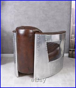 Vintage fauteuil club aluminium & épais cuir Art Deco avion DC3 cadre en bois