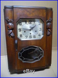 Vintage wall westminster clock uhr pendule horloge murale carillon ODO art deco