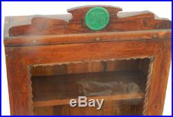 Vitrine Ancienne Swatiska Art Deco Bois Vieux Teck 47x16x74cm