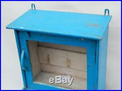 Vitrine Bleu Vitre et Miroir Vintage Ancien Bois Teck 30x25x57cm